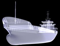 Cargo vessel. X-ray render Stock Images