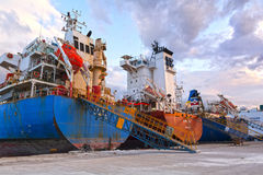 Cargo vessels at the dock Royalty Free Stock Photography