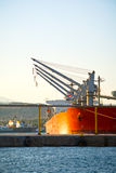 Cargo vessels at the sunset Stock Photography
