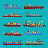 Cargo vessels and tankers shipping delivery bulk carrier train ferry freight industrial goods boat tankers isolated. Set of commercial delivery cargo vessels and Stock Photo