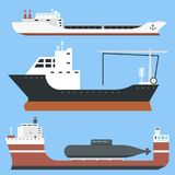 Cargo vessels and tankers shipping delivery bulk carrier train freight boat tankers isolated on background vector Stock Photos