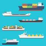 Cargo vessels and tankers shipping delivery bulk carrier train freight boat tankers isolated on background vector. Set of commercial delivery cargo vessels and Stock Photos