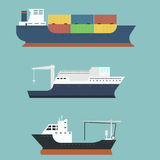 Cargo vessels and tankers shipping delivery bulk carrier train freight boat tankers  on background vector. Set of commercial delivery cargo vessels and tankers Royalty Free Stock Photography
