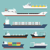 Cargo vessels and tankers shipping delivery bulk carrier train freight boat tankers isolated on background vector. Set of commercial delivery cargo vessels and Royalty Free Stock Photos