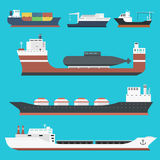 Cargo vessels and tankers shipping delivery bulk carrier train freight boat tankers isolated on background vector Royalty Free Stock Photos