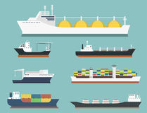 Cargo vessels and tankers shipping delivery bulk carrier train freight boat tankers isolated on background vector. Set of commercial delivery cargo vessels and Stock Image