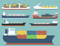 Cargo vessels and tankers shipping delivery bulk carrier train freight boat tankers isolated on background vector. Set of commercial delivery cargo vessels and Royalty Free Stock Photo