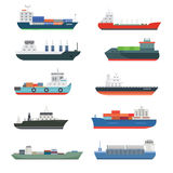Cargo vessels and tankers shipping delivery bulk carrier train freight boat tankers isolated vector illustration. Set of commercial delivery cargo vessels and Stock Images