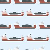 Cargo vessels and tankers shipping delivery bulk seamless pattern carrier train freight boat tankers background vector. Commercial delivery cargo vessels and Royalty Free Stock Images