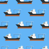 Cargo vessels and tankers shipping delivery bulk seamless pattern carrier train freight boat tankers background vector. Commercial delivery cargo vessels and Stock Photos