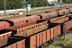 Cargo Waggons. Cargo wagons in the train station Stock Photos