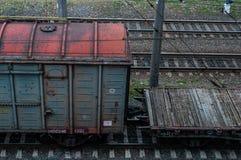 Cargo wagon, railway carriage, rail freight cars on rails.  stock photo