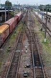 Cargo wagon, railway carriage, rail freight cars on rails.  royalty free stock images