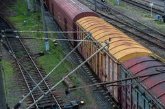 Cargo wagon, railway carriage, rail freight cars on rails.  royalty free stock photography