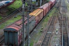 Cargo wagon, railway carriage, rail freight cars on rails.  royalty free stock photo