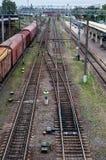 Cargo wagon, railway carriage, rail freight cars on rails.  stock photography