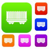 Cargo wagon set collection Royalty Free Stock Images