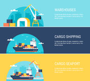 Cargo Warehouse Facilities, Shipping, Transportation and Seaport Horizontal Banners Stock Photo