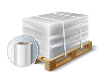 Cargo on a wooden pallet. Image of cargo wrapped plastic stretch film on wooden pallet. Symbol transport shipping. Vector illustration Royalty Free Stock Photography