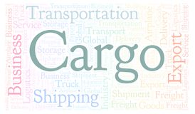 Cargo word cloud. Cargo shape word cloud. Wordcloud made with text only stock illustration
