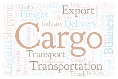 Cargo word cloud. Cargo shape word cloud. Wordcloud made with text only vector illustration