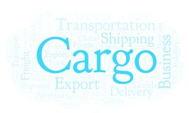 Cargo word cloud. Wordcloud made with text only vector illustration