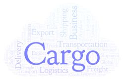 Cargo word cloud. Wordcloud made with text only stock illustration