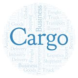 Cargo word cloud. Cargo shape word cloud. Wordcloud made with text only royalty free illustration