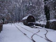 cargoe路轨方式基础设施的图象在冬天 免版税图库摄影