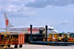 Cargoes operation in VietNam Saigon Airport. A Malindo Airlines plane is loading cargoes in VietNam airport, shown as industrial of transportation and cargo Royalty Free Stock Photos