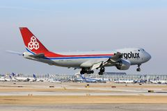Cargolux-Transportflugzeug kommt in Chicago an Lizenzfreies Stockbild