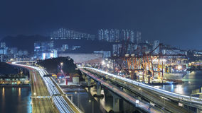 Cargor Port and Highway in Hong Kong Royalty Free Stock Image