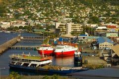 Cargos au port de Kingstown Photos stock