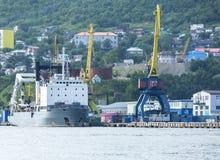 The cargoship in port Stock Image