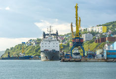 The cargoship in port Stock Photography