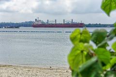 Carguero de graneles en el estrecho de Johor imagen de archivo libre de regalías