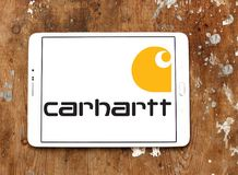 Carhartt apparel company logo. Logo of Carhartt apparel company on samsung tablet. Carhartt, Inc., is a U.S.-based apparel company. Carhartt is known for its royalty free stock photo