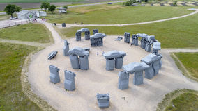 Carhenge, A Modern Replica Of Stonehenge Aerial View Royalty Free Stock Images