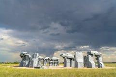 Carhenge, eine moderne Replik von Stonehenge lizenzfreie stockbilder