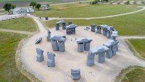 Carhenge, eine moderne Replik von Stonehenge-Vogelperspektive lizenzfreie stockbilder