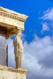 Cariátide do Erechtheum, Acropolis, Atenas Fotografia de Stock