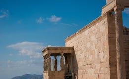 Cariátides da acrópole imagens de stock royalty free