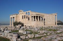 Cariátides da acrópole, Atenas Fotografia de Stock