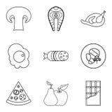 Cariñosamente iconos fijados, estilo del esquema ilustración del vector