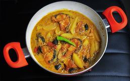 Cari bengali de poissons avec la pomme de terre et le safran des indes Images libres de droits