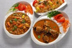 Cari de légume et d'aubergine avec du riz Photographie stock libre de droits