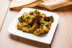 Cari de potiron végétal indien populaire de plat principal ou sabzi sec de ki de kaddu de kaddooor dans le hindi, bhaji lal de ch image libre de droits