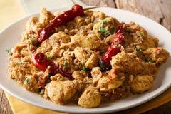 Cari de poulet de Chettinad avec le plan rapproché sec de piment de poivre horizont photographie stock