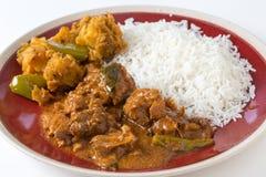 Cari et veg de poulet avec du riz Photos stock