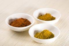 Cari, poivre de Cayenne et safran des indes dans des cuvettes blanches Image libre de droits
